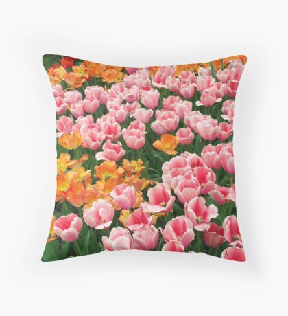 Tulips in the Field Throw Pillow