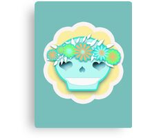 Festival Sugar Skull With Flower Headband Canvas Print