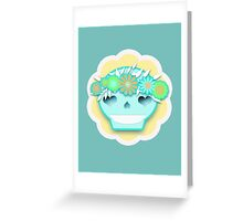 Festival Sugar Skull With Flower Headband Greeting Card