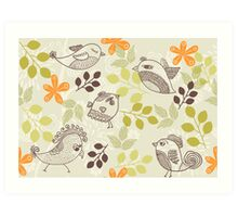 birds and flowers pattern Art Print