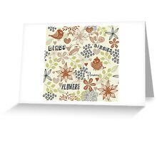 birds and flowers pattern Greeting Card