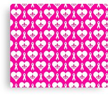 Think Pink Hearts and Fleur de Lis Pattern (White on Pink BG) Canvas Print