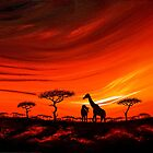 Giraffes at Daybreak by Shirley Shelton