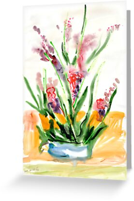Red flowers in blue pot by Stella  Shube As