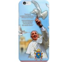 Pope Francis 2015 with doves blue background 3 iPhone Case/Skin