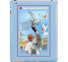 Pope Francis 2015 with doves blue background 3 iPad Case/Skin