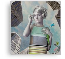 Girl in the big city Canvas Print