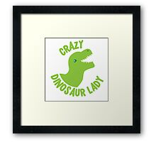 Crazy Dinosaur Lady (green circle with a TREX) Framed Print