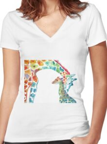 Giraffe Mommy and Baby Women's Fitted V-Neck T-Shirt