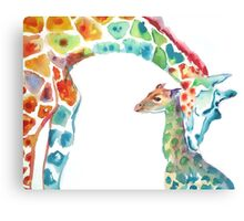 Giraffe Mommy and Baby Canvas Print
