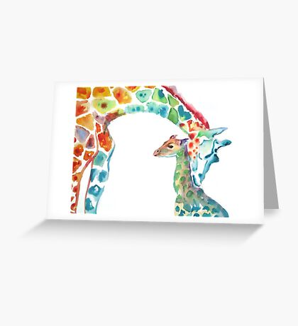 Giraffe Mommy and Baby Greeting Card