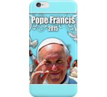 Pope Francis 2015 with aqua background 1 iPhone Case/Skin