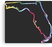 Florida Outline Tie Dye Canvas Print