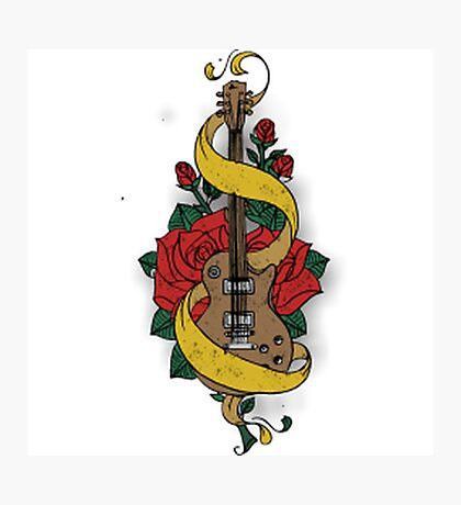 Guitare and Rose Photographic Print