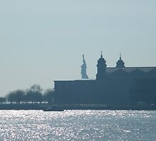 Ellis Island, Statue of Liberty, As Seen from Jersey City  by lenspiro
