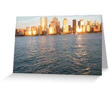 Hudson River Sunset, Lower Manhattan Greeting Card