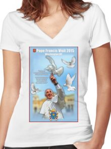 Pope Francis 2015 Wash DC Visit-doves background Women's Fitted V-Neck T-Shirt