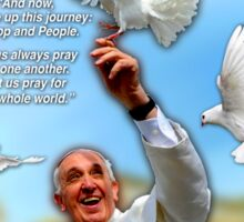Pope Francis 2015 Wash DC Visit-doves background Sticker