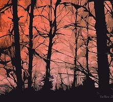 Crackling in the forest.. coral by linmarie