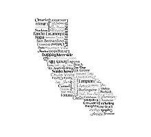 California Typography Map Photographic Print
