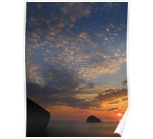 Cornwall: April Sunset at Trebarwith Strand Poster