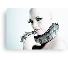 Portrait of girl with snake Canvas Print