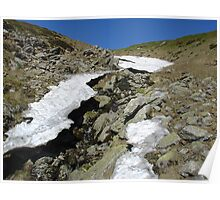 Small creek with ice melting on a mountain top Poster