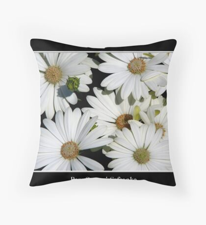 White Daisies Throw Pillow