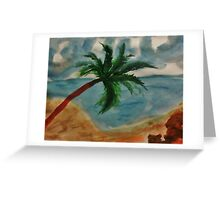 Tall Palm Tree hanging out, watercolor Greeting Card