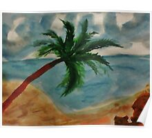 Tall Palm Tree hanging out, watercolor Poster