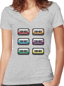 PIXEL CASSETTES  Women's Fitted V-Neck T-Shirt