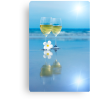 Two glasses of white wine Canvas Print