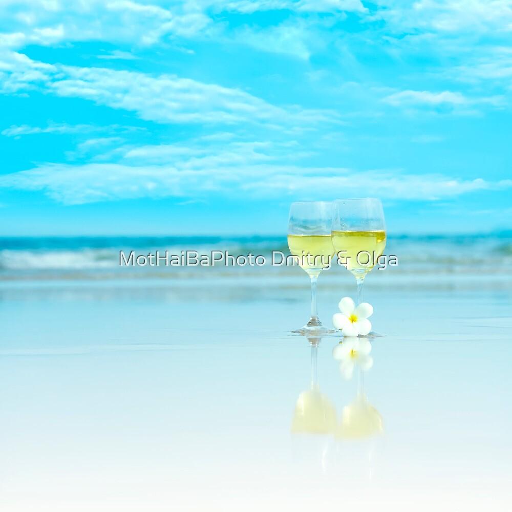 Two glasses of white wine by MotHaiBaPhoto Dmitry & Olga