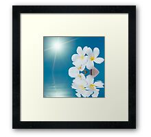 Seashell and flower in the sea Framed Print