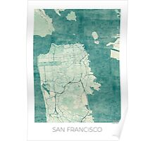 San Francisco Map Blue Vintage Poster