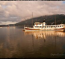 Evening Sun on Ship - Cowichan Bay, BC Canada by Daphne Eze
