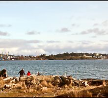 Day At The Beach - Esquimalt Lagoon BC Canada by Daphne Eze