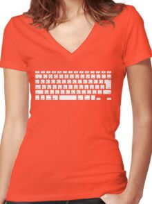 Japanese Keyboard Women's Fitted V-Neck T-Shirt
