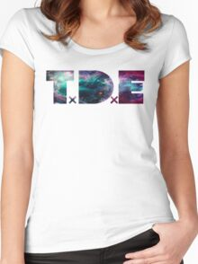 TDE TOP DAWG TRIPPY PURPLE TEAL GREEN BLUE NEBULA  Women's Fitted Scoop T-Shirt