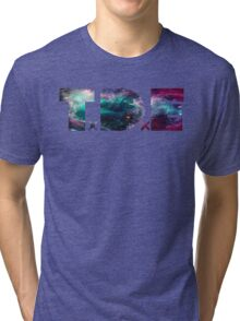 TDE TOP DAWG TRIPPY PURPLE TEAL GREEN BLUE NEBULA  Tri-blend T-Shirt
