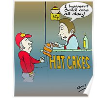 Funny Hot Cakes Seller Cartoon. Poster