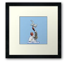 Pope Francis 2015 with doves blue background Framed Print