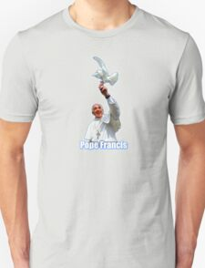 Pope Francis 2015 with doves blue background T-Shirt