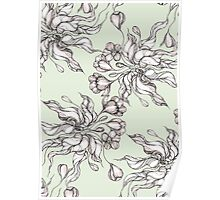 Vintage floral seamless pattern with hand drawn flowering crocus Poster