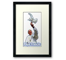 Pope Francis 2015 with doves white background Framed Print