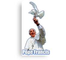 Pope Francis 2015 with doves white background Canvas Print