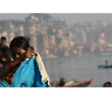 bathing by the ghat Photographic Print