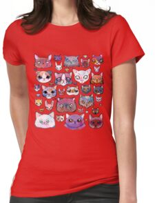 Feline Faces Womens Fitted T-Shirt