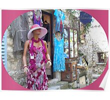 Stylish summer dresses in a village Poster
