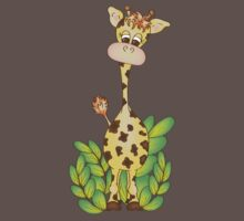 Adorable Giraffe with Leaves One Piece - Short Sleeve